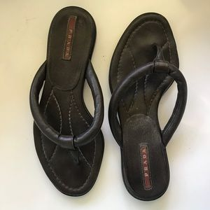 PRADA Brown Leather Thong Sandals SZ 6